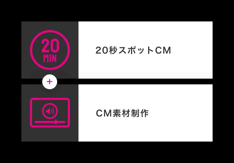 20秒スポット+20秒CM素材1タイプ制作